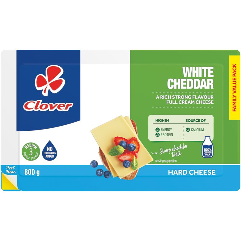 CLOVER CHEESE CHEDDAR WHITE – 800G