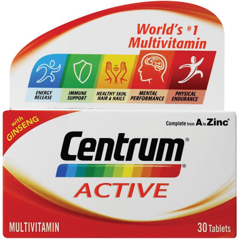 CENTRUM MULTIVITAMIN TABLETS ACTIVE – 30S