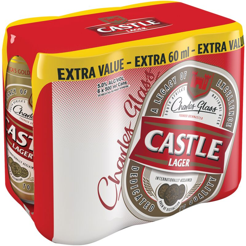 CASTLE LAGER CAN – 500ML X 6