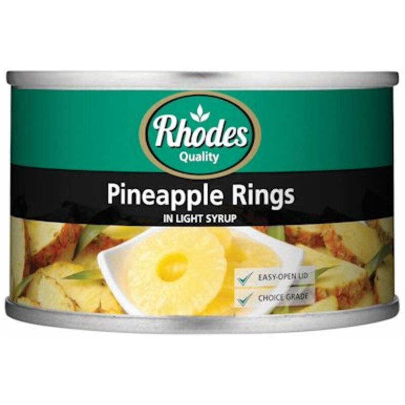 RHODES CANNED PINEAPPLE RINGS IN LIGHT SYRUP – 227G