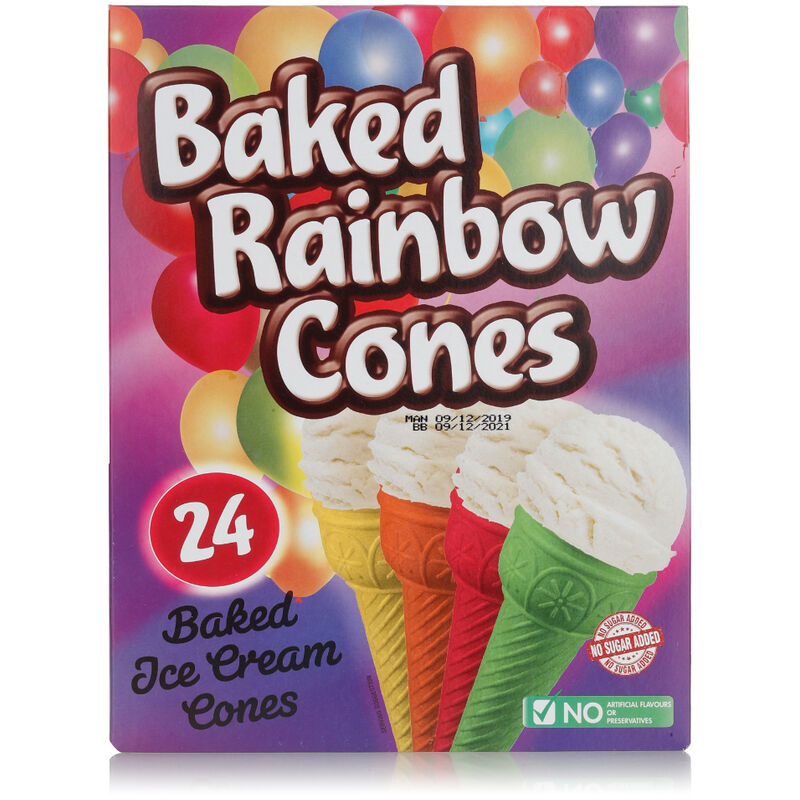 HONEYFIELDS PARTY CONES BAKED RAINBOW – 24S