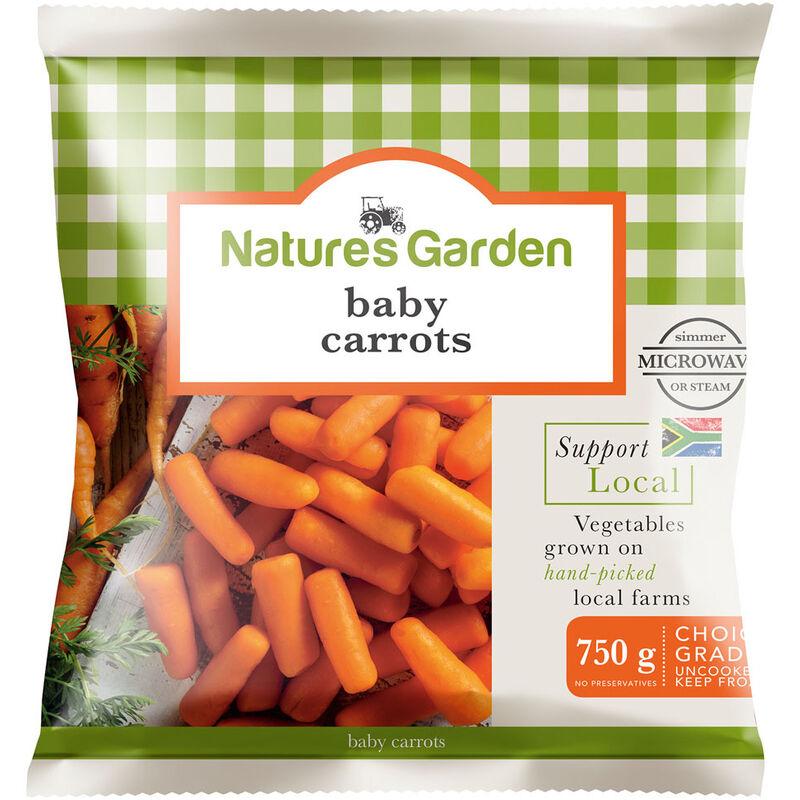 NATURES GARDEN BABY CHANTENAY CARROTS – 750G