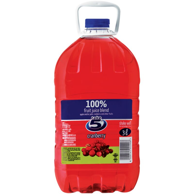 TAKE 5 100% CRANBERRY & CHERRY FRUIT JUICE BLEND – 3L