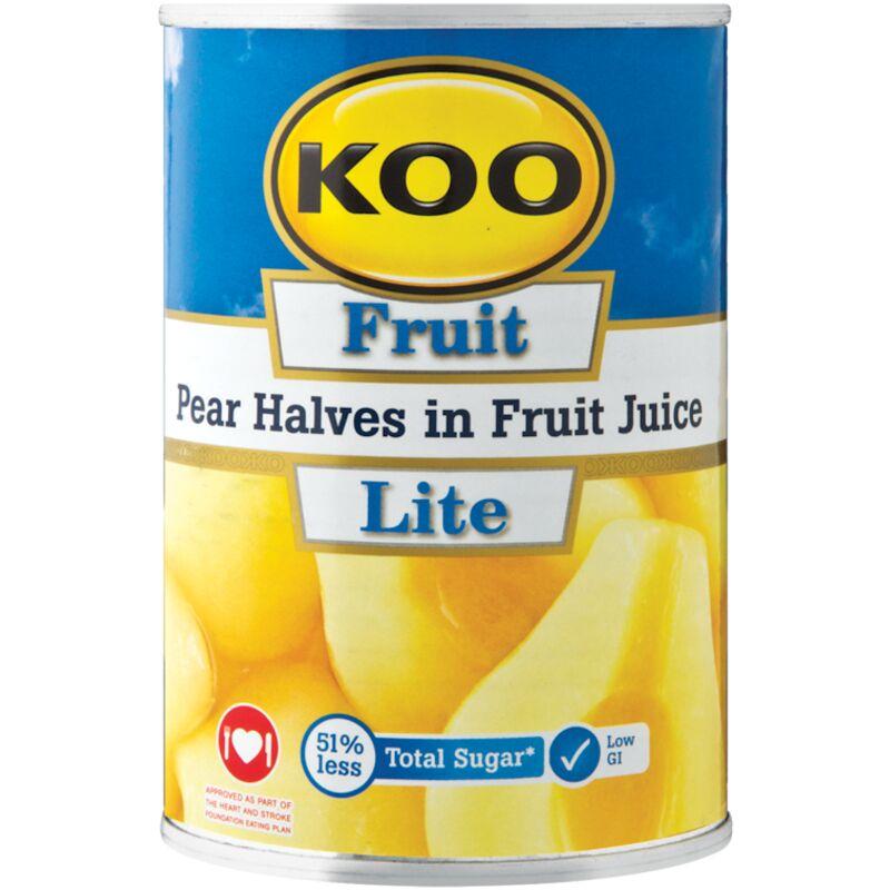 KOO LITE PEAR HALVES IN FRUIT JUICE – 410G
