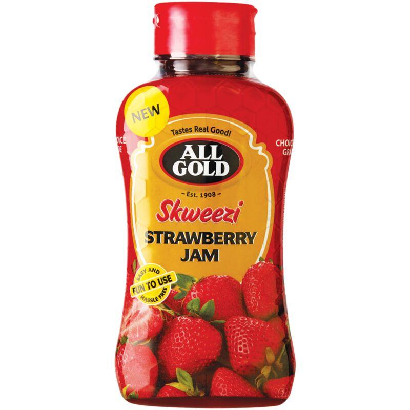 ALL GOLD SKWEEZI JAM STRAWBERRY – 460G