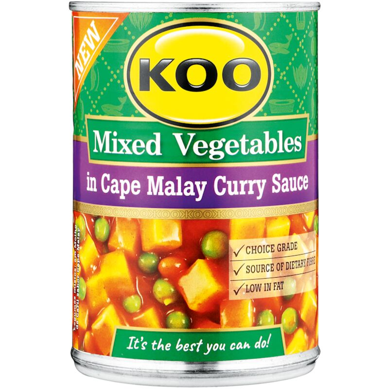 KOO TINNED MIX VEGETABLES IN CAPE MALAY SAUCE – 410G