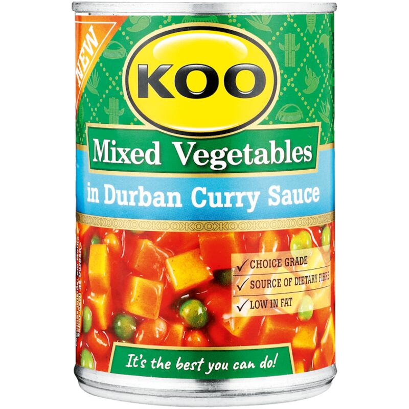 KOO TINNED MIX VEGETABLES DURBAN CURRY SAUCE – 410G