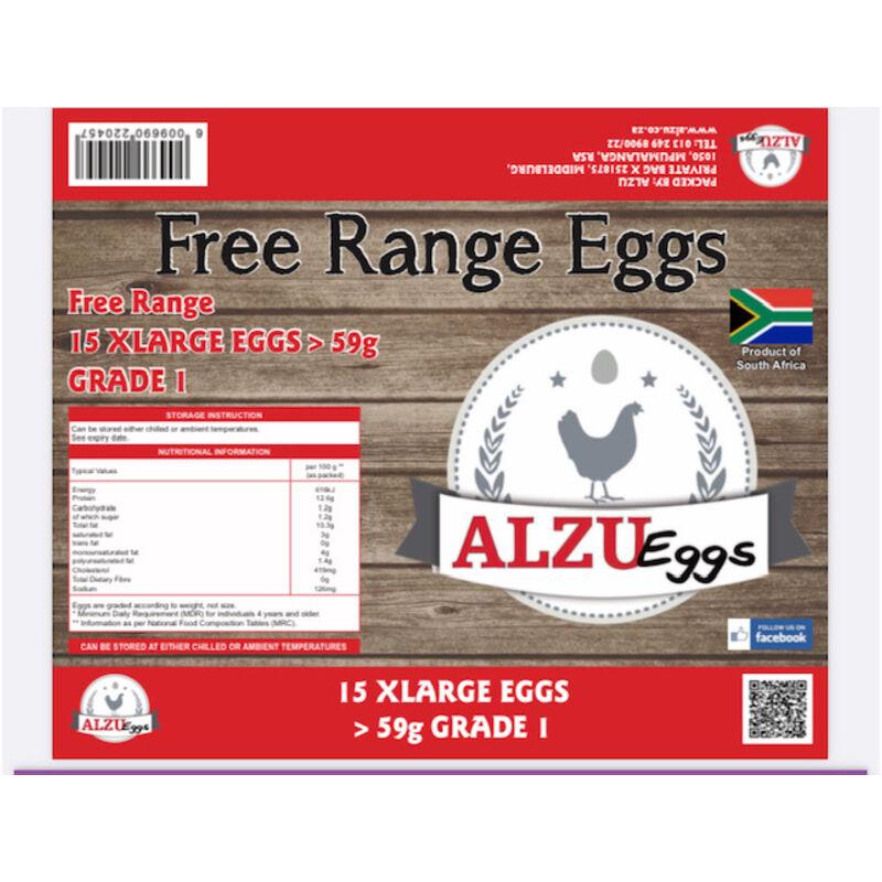 ALZU EGGS FREE RANGE EXTRA LARGE – 15S