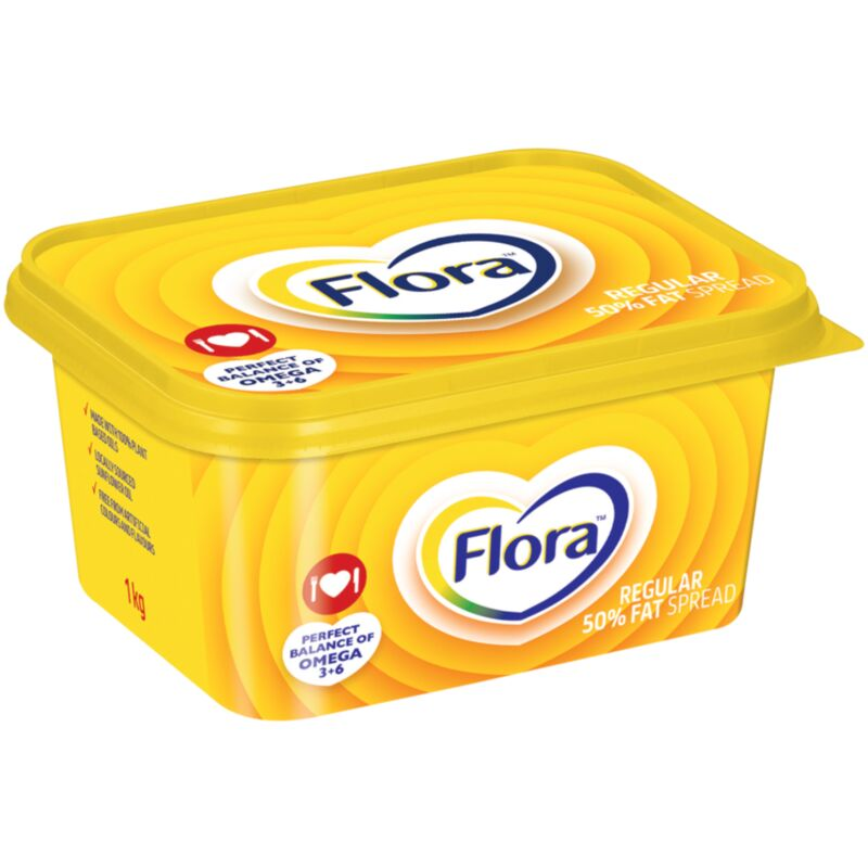 FLORA MARGARINE REGULAR 50% FAT SPREAD – 1KG