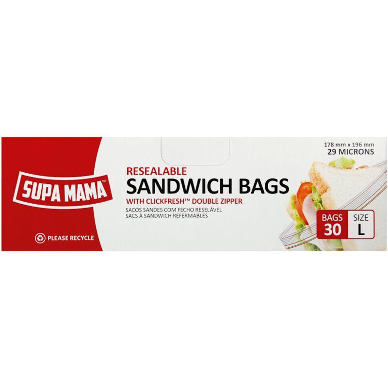 SUPA MAMA RESEAL SANDWICH BAG LARGE – 20S