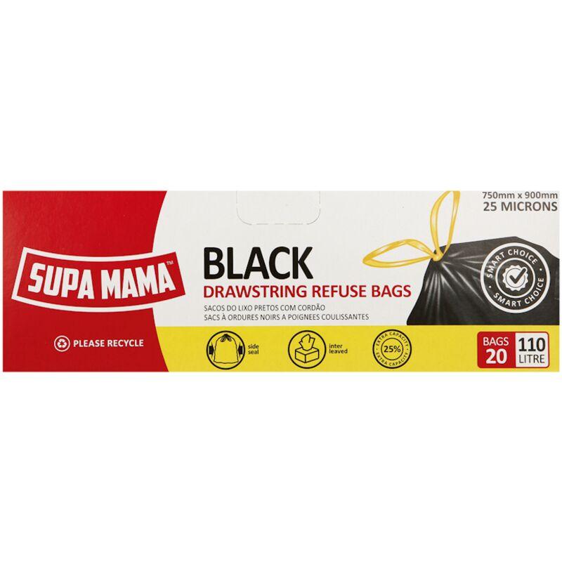 SUPA MAMA REFUSE BAG ON ROLL BLACK – 20S