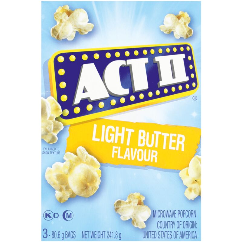 ACT II MICROWAVE POPCORN LIGHT BUTTER – 3S