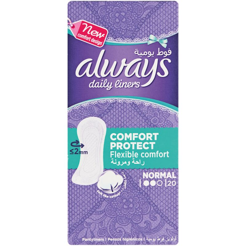 ALWAYS NORMAL PANTY LINERS UNSCENTED – 20S