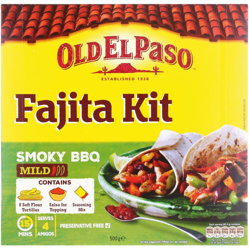 OLD EL PASO BBQ FAJITA KIT – 500G