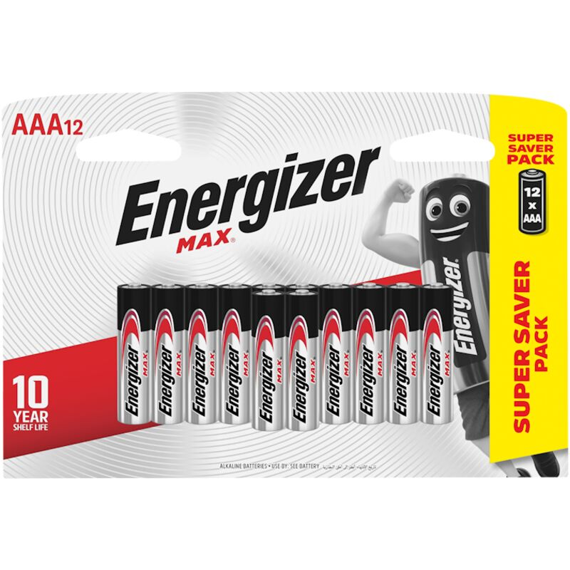 ENERGIZER BATTERIES MAX AAA 12 PACK – 12S